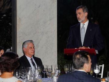 El rey Felipe VI durante su intervención ante el presidente cubano Miguel Díaz-Canel