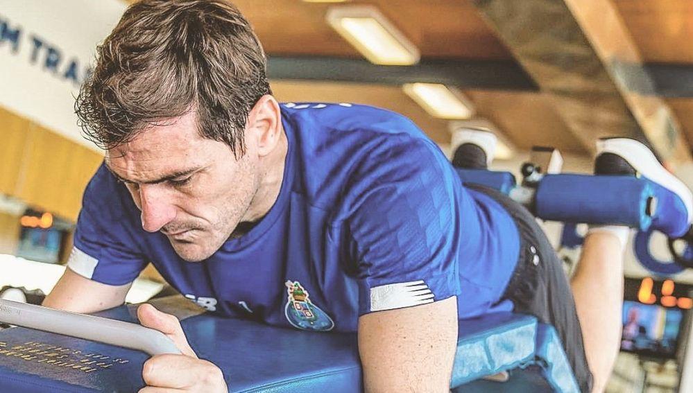 Iker Casillas, entrenando