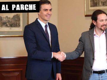 Pedro Sánchez y Pablo Iglesias en la firma del preacuerdo de Gobierno