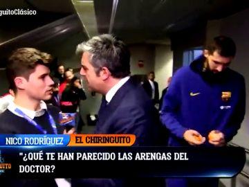 Lamentable reacción del jefe de prensa del Barcelona a una pregunta de 'El Chiringuito': ojo a la reacción de Pedrerol