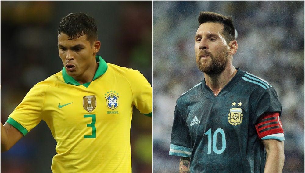 Thiago Silva y Lionel Messi