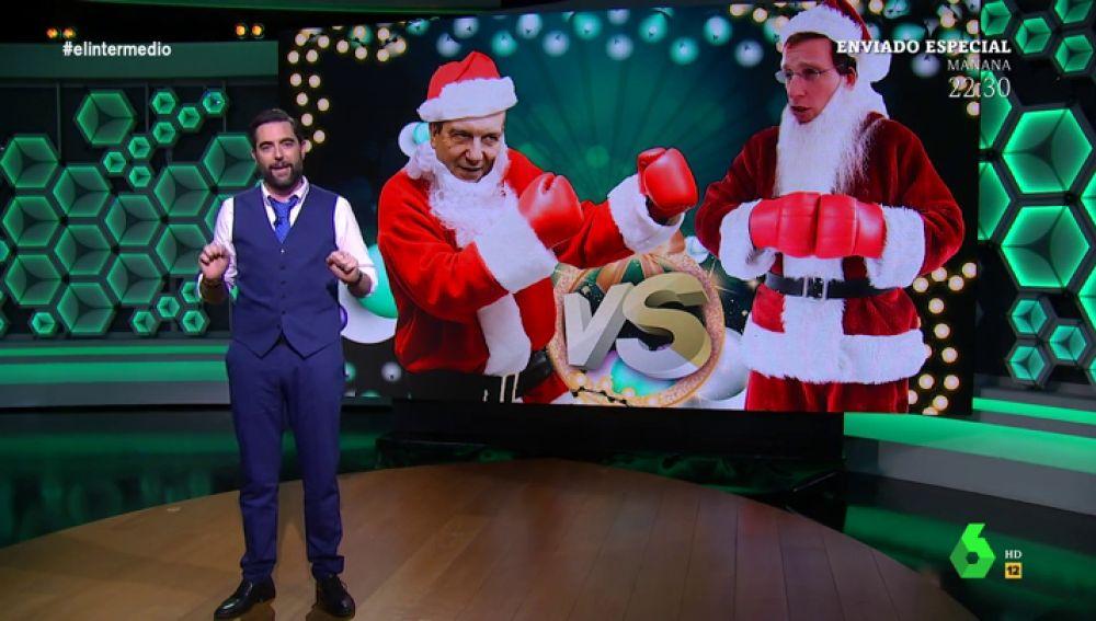 Dani Mateo analiza el 'combate' entre Caballero y Martínez-Almeida con las luces de Navidad
