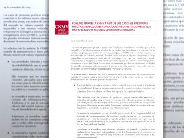 La CNMV emite un duro comunicado para las empresas de la Bolsa tras los escándalos de presunta corrupción