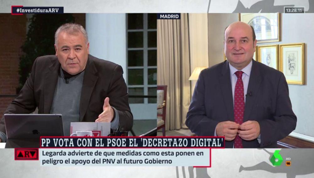 """Andoni Ortuzar (PNV): """"Tenemos dos opciones, formar un gobierno plural o echar a Sánchez a los brazos de la derecha"""""""