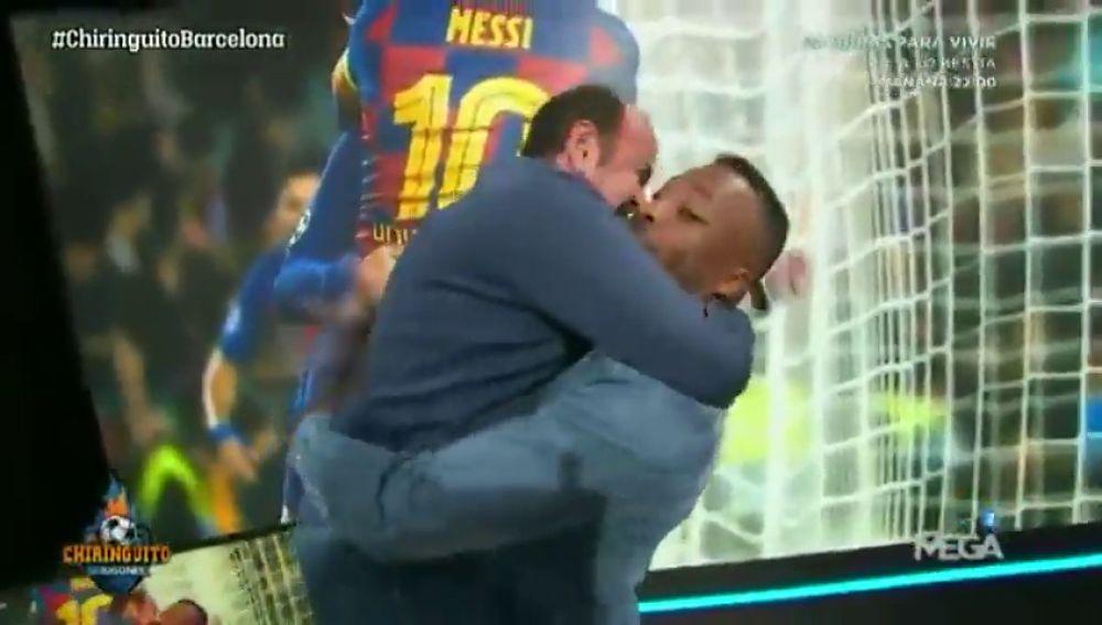 ¡Momentazo! Juanma Rodríguez y Congo recrean el abrazo de Messi y Griezmann