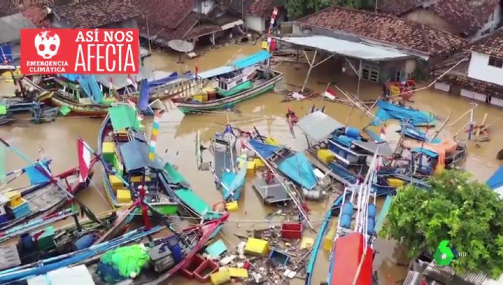 Imágenes de Indonesia tras inundaciones.