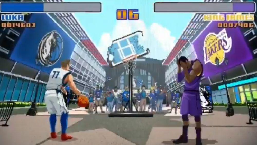 Doncic y LeBron, al estilo Street Fighter