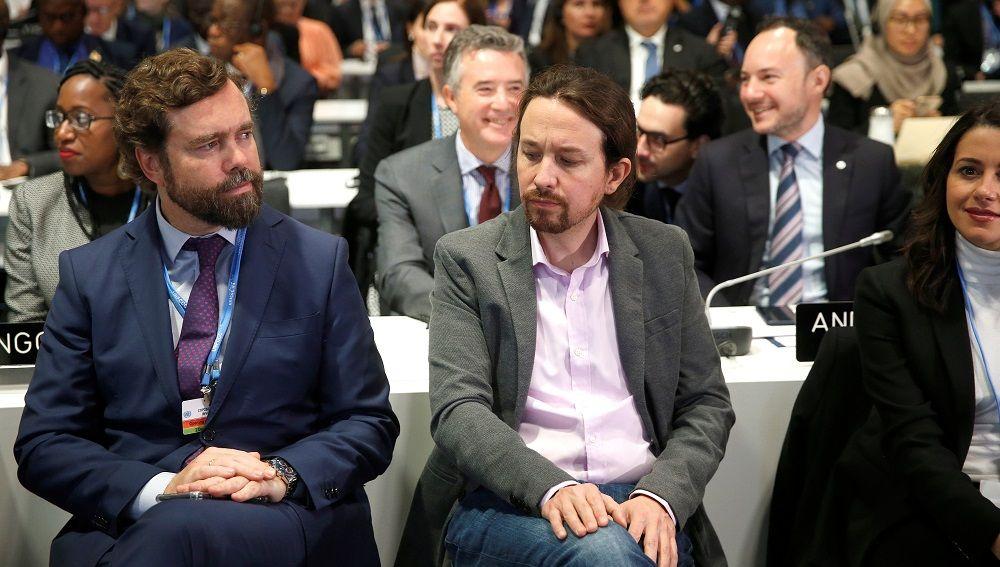 Iván Espinosa de los Monteros y Pablo Iglesias en la inauguración de la Cumbre del Clima