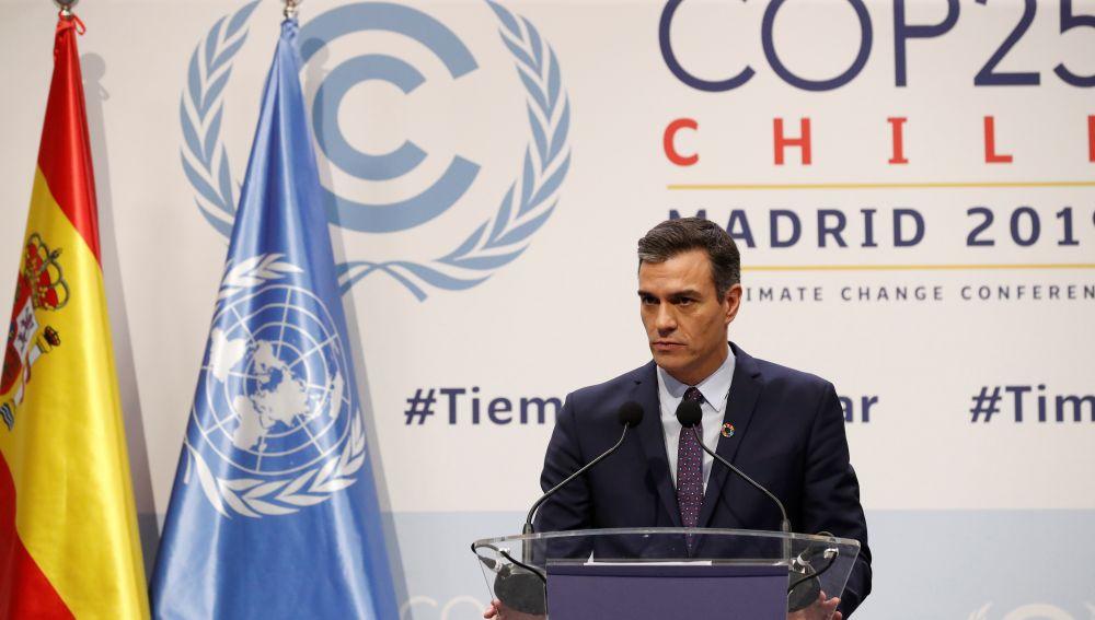 El presidente del Gobierno de España, Pedro Sánchez durante la rueda de prensa por la Cumbre del Clima