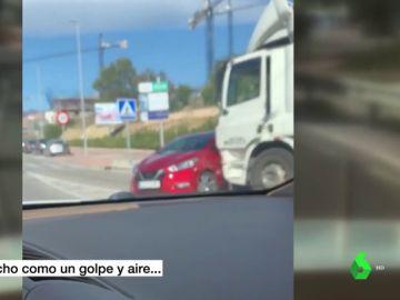 """Habla el camionero que arrastró un vehículo más de medio kilómetro: """"Pensaba que había reventado una rueda"""""""