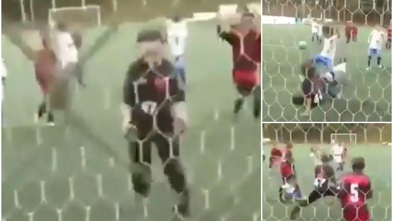 Un portero alevín en el Flamengo