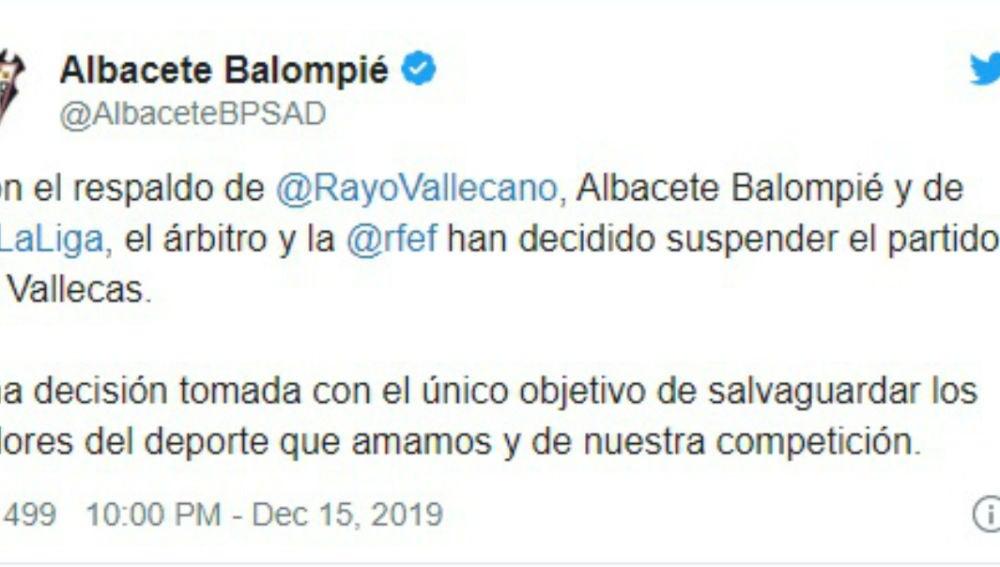 Comunicado del Albacete tras la suspensión del partido ante el Rayo