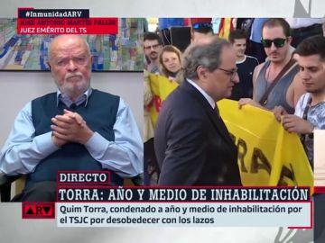 """Marín Pallín, juez emérito del Supremo: """"La inhabilitación de Quim Torra está fuera de la legalidad"""""""