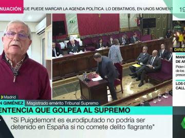 """Joaquín Giménez, magistrado emérito del Supremo: """"Junqueras no debe ser excarcelado, porque es un preso firme y no provisional"""""""