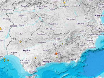 Imagen de la zona de Granada en la que se ha producido un terremoto de magnitud 3,6