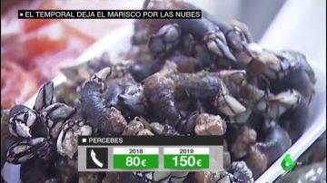 Percebes a 140 euros el kilo, centollas a 42: el temporal aumenta un 40% el precio de los mariscos