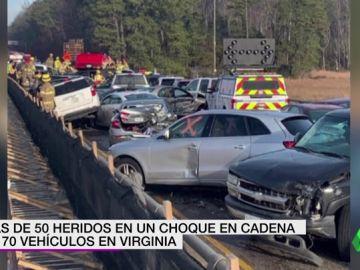 Más de 70 coches provocan un choque en cadena en Virginia