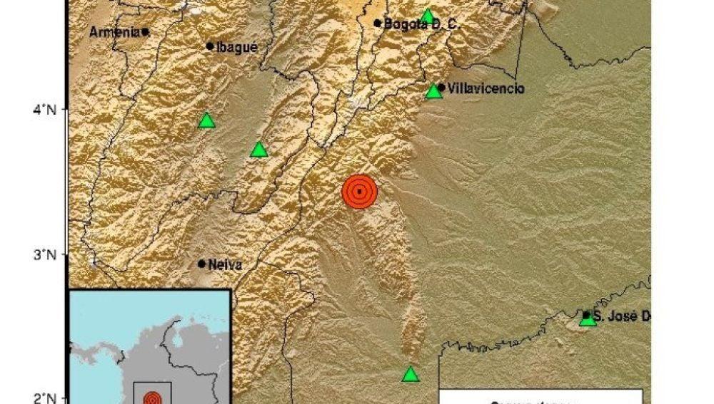 Mapa del sismo que se ha sentido en el centro de Colombia