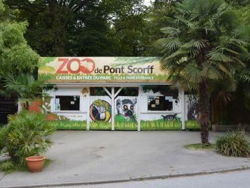 Fachada de la entrada al Zoo de Pont Scorff, en Francia.