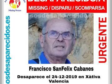 El hombre desaparecido en Xàtiva, Valencia