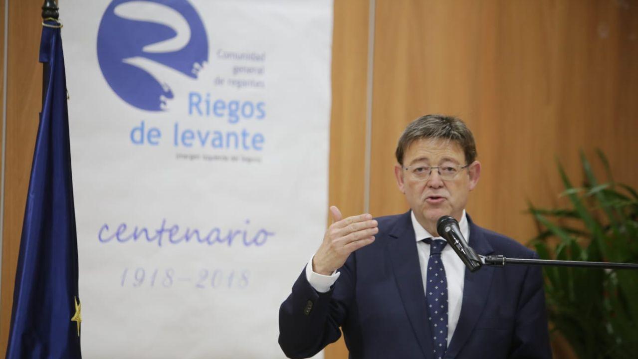 Ximo Puig, presidente de la Generalitat Valenciana en la sede de Riegos de Levante.