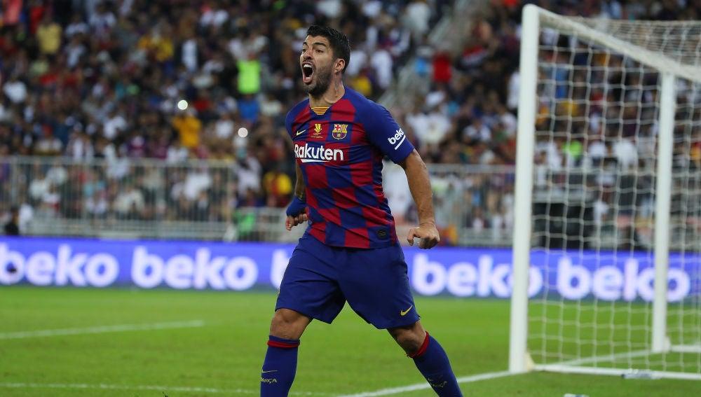 Luis Suárez, en el partido con el Barcelona.