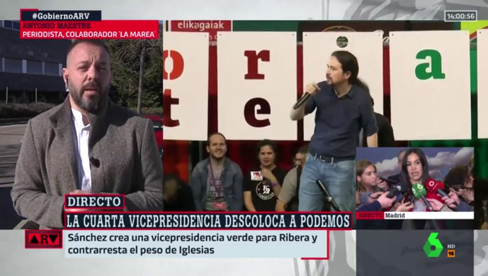 """Antonio Maestre, tras reunirse con Iglesias: """"Cree que es un buen avance que haya tres vicepresidentas mujeres"""""""