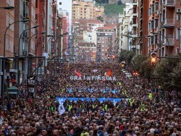 Manifestación en apoyo a los presos de ETA con presencia de Unidas Podemos