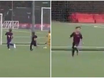 Thiago Messi marca un gol