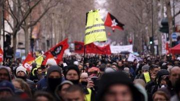 Imagen de la multitudinaria manifestación en París