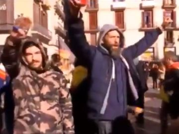 Manifestación de Vox en la plaza de Sant Jaume