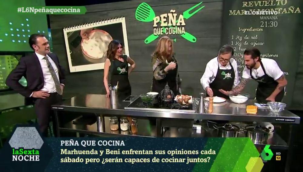 Elisa Beni y Paco Marhuenda, juntos con el chef Peña para preparar un revuelto 'mar y montaña'