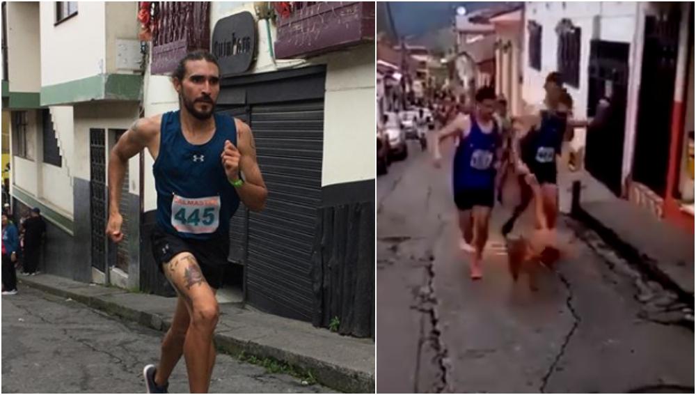 El corredor Jaime Alejandro da una fea patada a un perro en plena carrera