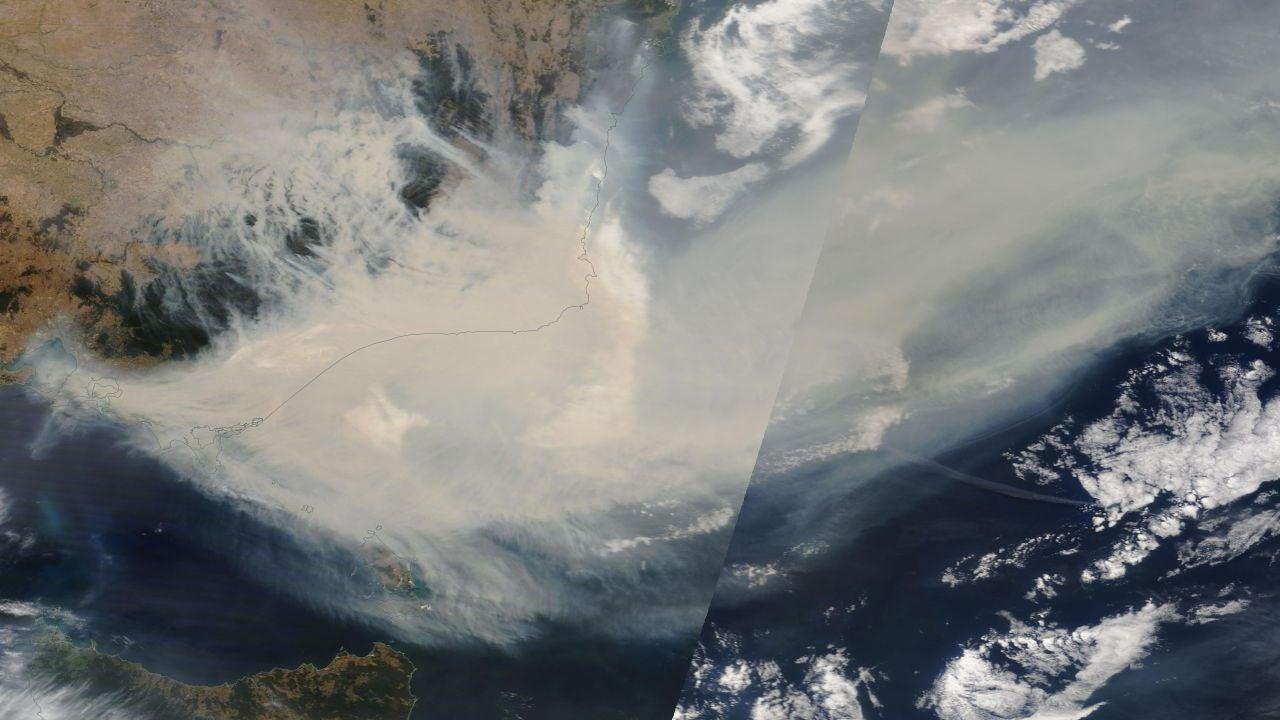 Vista del humo de los incendios de Australia
