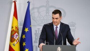 Pedro Sánchez durante su rueda de prensa tras el Consejo de Ministros