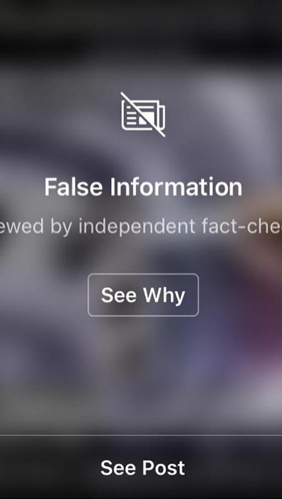 Contenido falso denunciado por Instagram.
