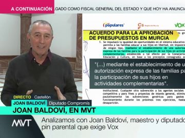 """Joan Baldoví critica el 'pin parental' de Vox: """"Un niño tiene que tener la posibilidad de ver las diferentes maneras de entender el mundo"""""""