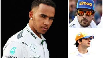 Lewis Hamilton, Fernando Alonso y Carlos Sainz