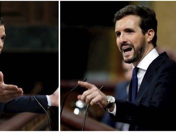 Pedro Sánchez y Pablo Casado en el Congreso de los Diputados