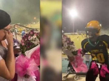 Frank Calderón entrega un ramo de flores a su abuela