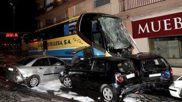 Imagen del accidente de autobús en Estella