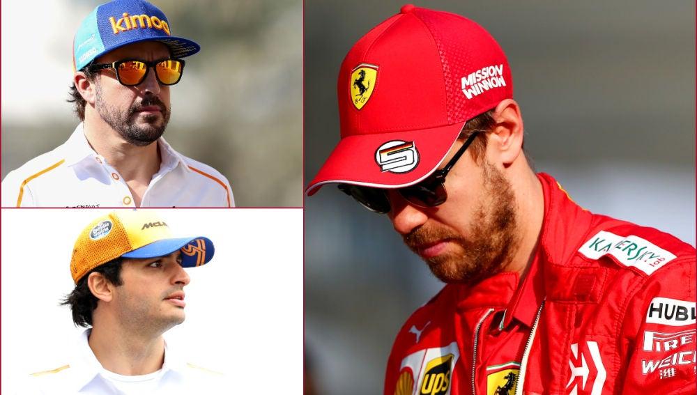 Fernando Alonso, Carlos Sainz y Sebastian Vettel