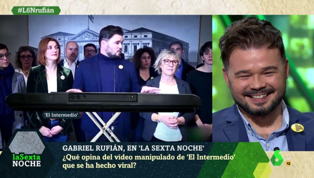 """Rufián, cara a cara con su vídeo manipulado que se ha hecho viral: """"Es un honor, doy para mucho de esto"""""""