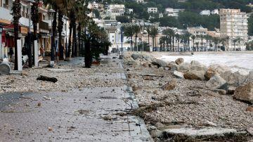 Vista de los desperfectos causados por el temporal Gloria en Jávea