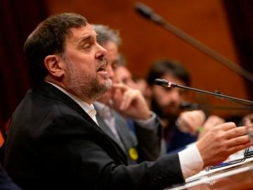 Oriol Junqueras, exvicepresident de la Generalitat, en la Comisión de investigación del 155