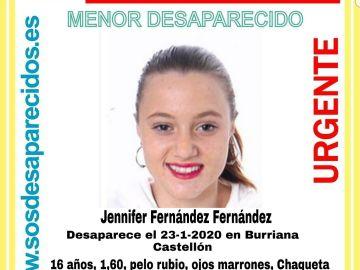 Jennifer Fernández, desaparecida en Burriana desde el 23 de enero