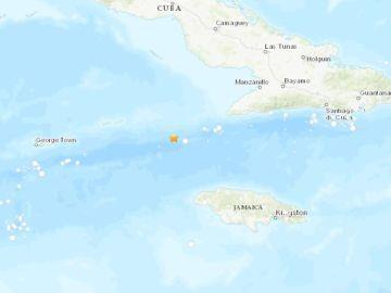 Epicentro del terremoto en el Mar Caribe