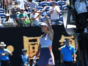 Muguruza celebra su triunfo contra Pavlyuchenkova