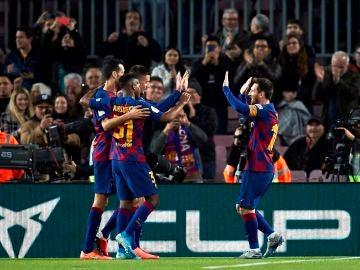 Los jugadores del Barcelona celebran un gol ante el Leganés.