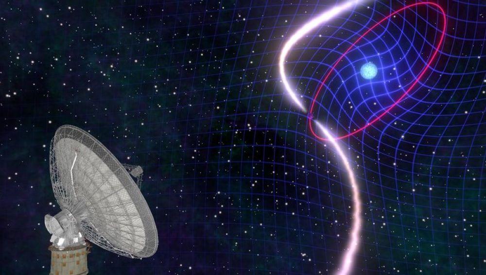 La danza de una enana blanca y un pulsar confirma una prediccion de Einstein